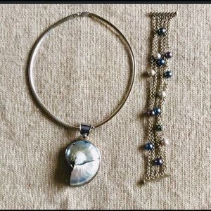 Jewelry - 💜Genuine pearl and abalone in sterling silver set